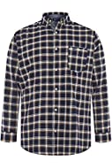 BadRhino Navy Blue White Herringbone Checked Shirt Featuring button down collar and long sleeves Front chest pocket and embroidered BadRhino Logo Complete your look with a pair of navy chinos.