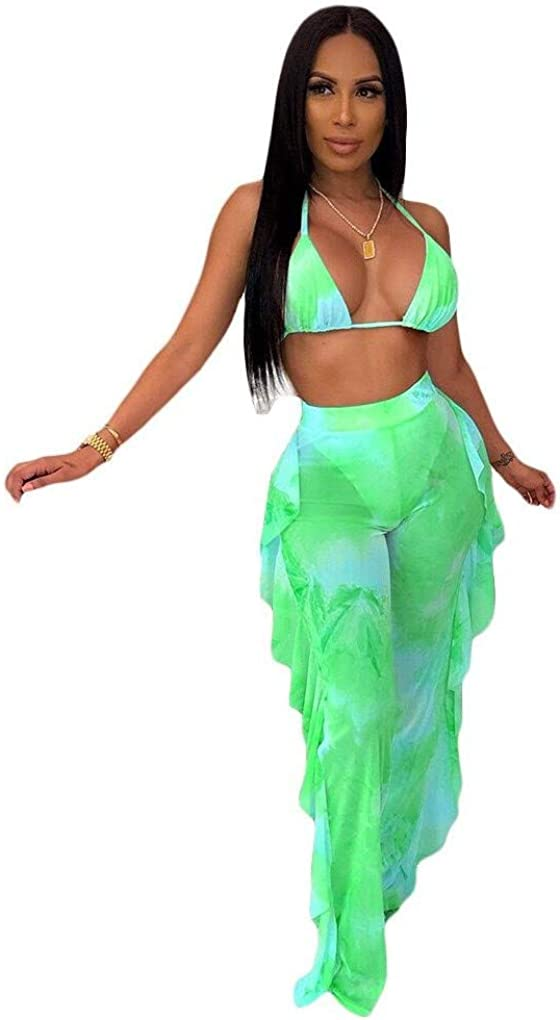 ECHOINE Women's Jumpsuit Beach Swimsuit Mesh Cover Up See Through Two Piece Outfits Clubwear with Briefs