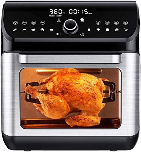 IKICH Air Fryer Oven 12QT 1500W Electric Large Hot Air Fryer 107 Presets amp Cooking Modes w/LED Touchscreen Dehydrator amp Rotisserie with Skewer Rack Removal Tool Cookbook