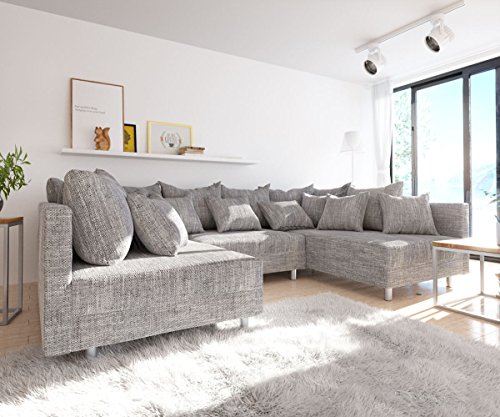 DELIFE Couch Clovis modular - Ecksofa, Sofa, Wohnlandschaft & Modulsofa (Hellgrau, Sofa)