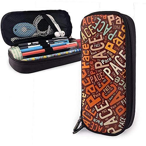 Pace American Apellido Funda de cuero de alta capacidad Estuche para lápices Bolso de almacenamiento grande Organizador de caja Organizador de maquillaje Bolso de cosméticos portátil