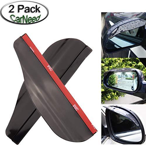 CarNeed 2 Pcs Smoked Black Mirror Rain Visor Smoke Guard, Rear View Side Mirror Rain Eyebrow, Carbon Fiber Rear View Mirror Visor Guard for Most Car, Truck and SUV
