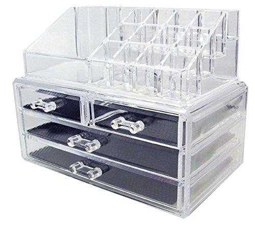 DJUNXYAN Große transparente Multifunktions-abnehmbare Kombination Doppel-Deck Acryl Make-up Organizer Kosmetik-Box Lippenstift Make-up Pinsel Tray Plus 4 Schubladen