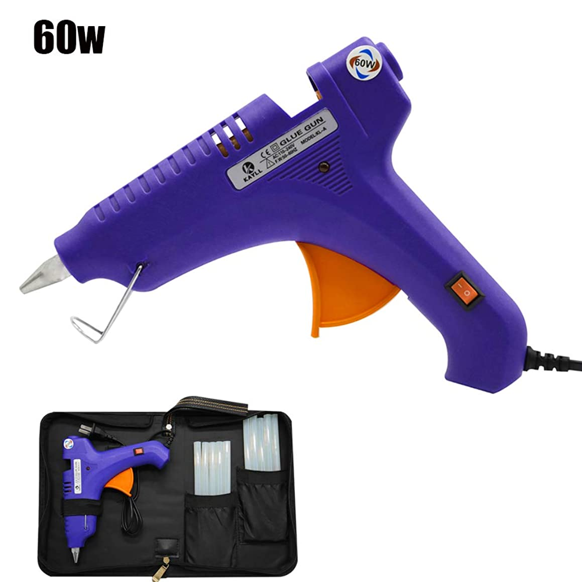 BMIETE 60W Hot Melt Glue Gun with 10pcs Glue Sticks Strong Adhesive,Storage Box Included for Arts Crafts School Home Repair and Sealing DIY