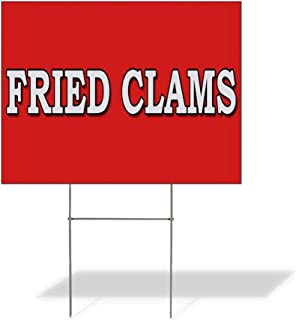 Plastic Weatherproof Yard Sign Fried Clams Food Fair Restaurant Seafood Brown Fried Clams for Sale Sign Multiple Quantities Available 18inx12in One Side Print One Sign