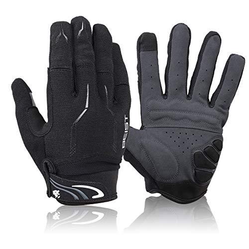 Guanti ciclismo da bicicletta,guanti da mountain bike a dita intere,Antiscivolo e Antiurto,guanti da motociclista,guanti MTB in gel con 2 Dita Touchscreen per uomo e donna (nero, L)