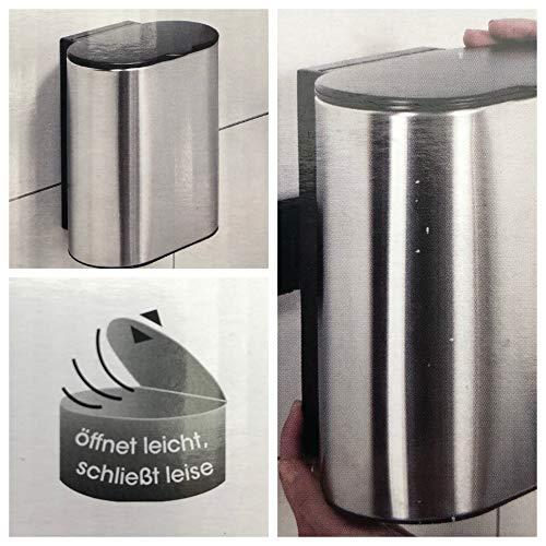 EASY HOME Wand- Kosmetikeimer Edelstahl, rostfrei, mit Anti-Fingerabdruck-Beschichtung, Soft-Close-Funktion