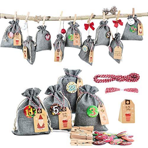 Adventskalender stoffsäckchen zum Befüllen und Aufhängen, 24 Stoffbeutel für Geschenk-Verpackung, 2020 Weihnachten Geschenksäckchen Deko Kette zum Selberfüllen, jutebeutel, 24 Zahlen Buttons von DIY