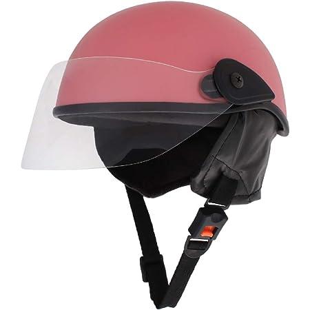 Sage Square Polycarbonate Shell Scooty Half Helmet for Men, Women (Pink Matte, Medium)