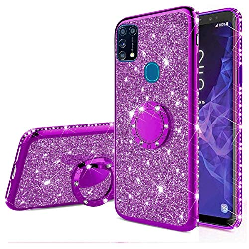 Nadoli Glitzer Hülle für Galaxy M31,Kristall Diamant Strass Bumper mit 360 Ring Kickstand Silikon Schutzhülle Handyhülle Frauen Mädchen für Samsung Galaxy M31,Lila