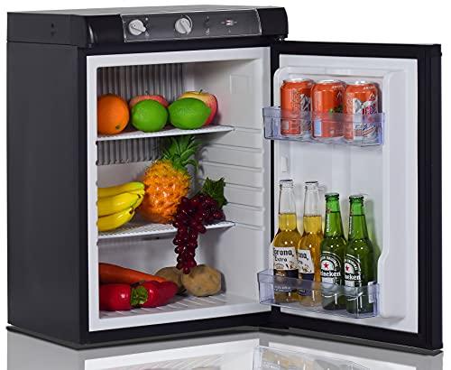 Techomey Propane Refrigerator, Mini Fridge 3 Way, 12 V/110V/GAS LPG, Quiet Compact Camping Fridge for Caravan, RV, Motorhome, Off-Grid Cabin, Boat, Apartment, Office, Kitchen, 2.1 Cu.Ft, Black