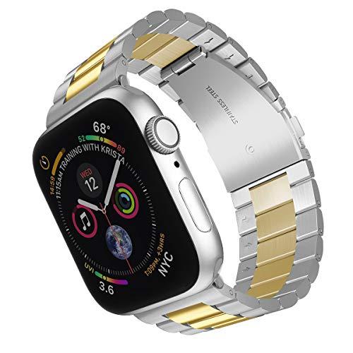 ARTCHE Edelstahl-Uhrenarmband für Apple Watch, 44 mm, 42 mm, Sportarmband, Ersatzarmband, verstellbares Armband, kompatibel mit iWatch Serie 6/SE/5/4/3/2/1, Silber und Gold