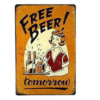 dingleiever-Free Beer Tomorrow Bar Pub Garage Man Cave Rustic Metal Tin Sign Yellow Vintage