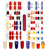 8 Sheets Christmas Nail Wraps Self-Adhesive Gel Nail Stickers for Women Teens Girls DIY Color Street Nail Polish Decals Glitter Design with Nail File