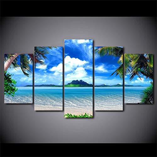 QAZWSY Canvas Foto's Voor Woonkamer Wall Art 5 Stuks Strand Blauwe palmbomen Schilderijen Zeegezicht Poster Home Decor 30x50 30x70 30x80 CM No Frame
