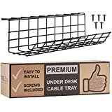 Scandinavian Hub Under Desk Cable Management Tray - Cable Organizer for Wire Management. Metal Wire Cable Tray for Office and Home (Black - Single 17'')