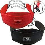 C.P. Sports Trainings Dip - Cinturón para dip (cadena larga, talla única), color negro o rojo