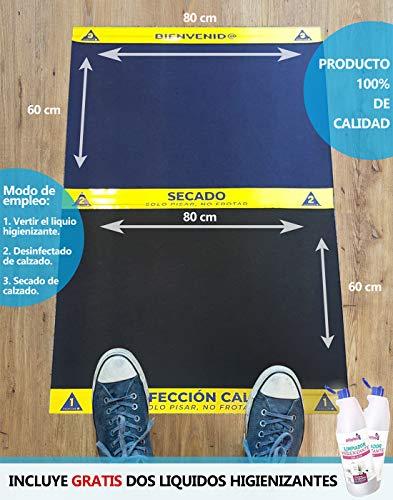 Cibol Alfombra - Felpudo DESINFECTANTE Entrada + (x2) Limpiador Higienizante, para Calzado, Zapatos, Oficina, Empresas. (80 x 60 cm).