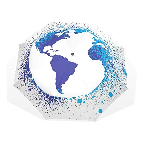LASINSU Regenschirm,Abstrakter Globus Tinteneffekt Karten Druck,Faltbar Kompakt Sonnenschirm UV Schutz Winddicht Regenschirm