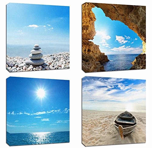 4Pcs 12x12 Canvas Wood Stretched Jetty Beach Blue Sea Ocean Sky Theme Pink Frame Landscape Abstract Modern Art For Home Room Office Wall Print Decor 12x12' inch (30x30cm)