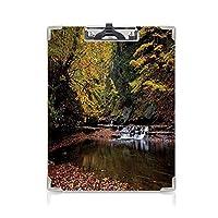 キングジム:クリップボード カラー A4判タテ型 自然 会議資料など挟 小さな滝ブランディワインクリーク国立公園オハイオ州秋の落ち葉黄色緑レッドウッド