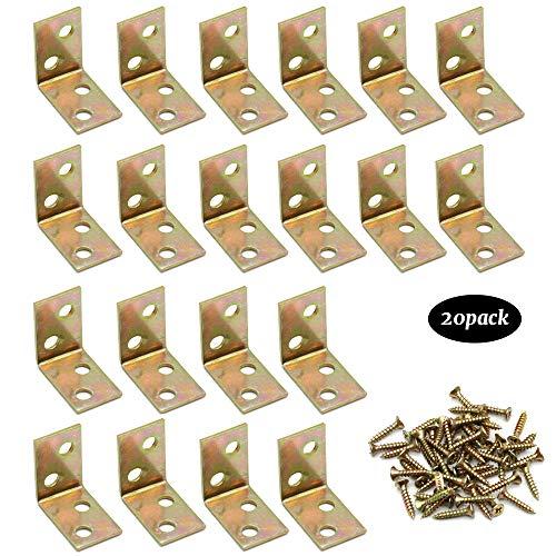JUN-H 20 Stück Winkelverbinder 90 Grad Eckl Winkel Klammern Regal Unterstützung Mit Schrauben Wird für die Installation der Regalstütze des Kleiderschranks verwendet(25 x 25 x 16 mm)