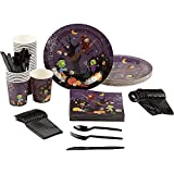 Spooky Halloween Party Bundle, Includes Plates, Napkins, Cups, and Cutlery (24 Guests,144 Pieces)