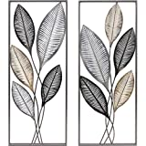 FirsTime & Co. Metallic Leaves Decor Wall Plaque Set, 35.5