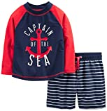 Simple Joys by Carter\s Baby Boys\ Toddler 2-Piece Swimsuit Trunk and Rashguard, Red and Blue Anchor, 3T