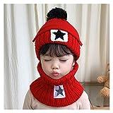 XXY 3 Unids Invierno Niño Skullies Beanie Hat Bufanda Mascarilla Boca Punto Fleece Ski Outdoor Hat Pompom Girl Boy Face Cara Manténgase Caliente (Color : Red, Size : 52 56cm)
