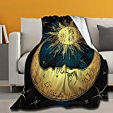 ARRISUM The Love of The Sky Sun Moon Stars Micro Fleece Blankets Super Soft Cozy Couch Throw Blanket for Home Bedding Living Room All Seasons 60 X 50 Inch for Teens