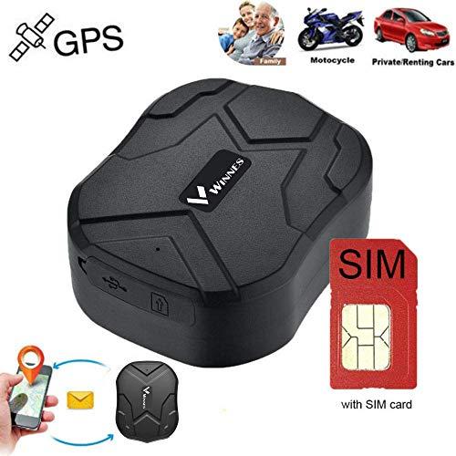 Winnes GPS Tracker mit SIM-Karte, GPS/AGPS/LBS Starker magnetischer GPS Tracker Lange Standby-Zeit Fahrzeugortung wasserdichte Echtzeit-Ortung Anti-Lost Locator mit kostenloser App TK905B