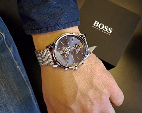 BOSS Men's Jet Quartz Stainless Steel and Mesh Bracelet Casual Watch, Color: Silver (Model: 1513440)