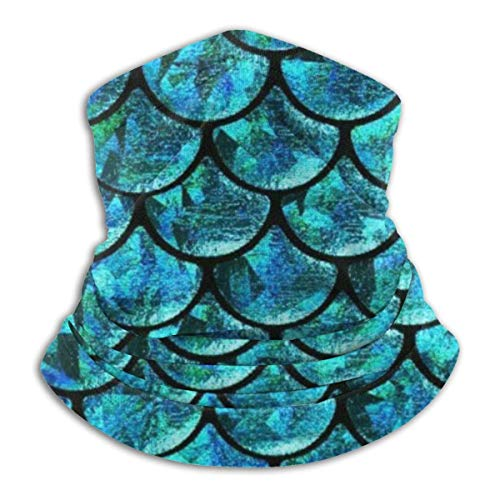 WlQshop Turquoise Mermaid Scales Neck Warmer Gaiter Fleece Ski Face Cover Cover for Winter