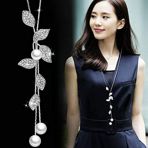 LXMYLI [[[[[Collares Y Colgantes Blancos Clásicos con Forma De Hoja De Perlas Simuladas para Mujer (Longitud: 70 Cm)]],Null,en]]]