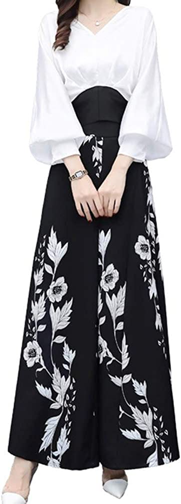 June Women's Spring 2 Pieces Outfits V Neck Shirt and Floral Wide Leg Pants Set