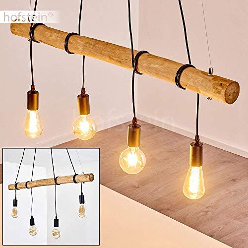 Pendelleuchte Seegaard, Hängelampe aus Metall/Holz in Schwarz/Braun, 4-flammig, 4 x E27 max. 60 Watt, höhenverstellbare Hängeleuchte, geeignet für LED Leuchtmittel