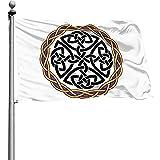 qinzuisp Fahne Keltischer Kreuzknoten Irish Shield Warrior Courtyard Yard Banner 150X90Cm Flaggen Balkon Im Freien Gartenterrasse Langlebig