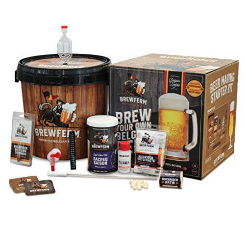Brewferm Buckriders Belgian Home Brewing Starter Craft Beer Kit. Homebrewing made simple! Includes Sacred Saison Craft Brew Mix. Makes 15 Liters or 4 Gallons of Beer