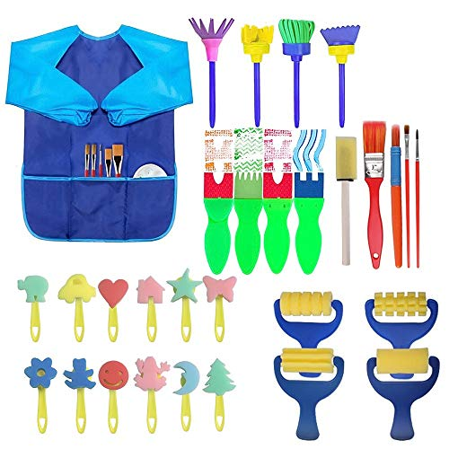 ZJW Painting Kits for Kids Birthday Gift, Funny Early Learning Sponge Painting Brush Set, Includes Different Pattern Painting Brush and Workwear Apron