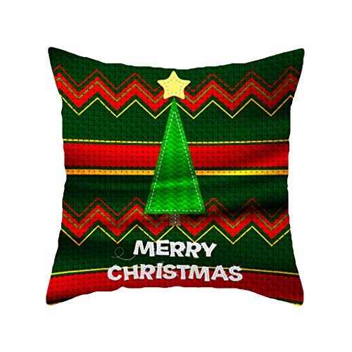 Shan-S Christmas Throw Pillow Covers Green Golden Christmas Bells Holly Berries and Tinsel Home Decor Cushion Covers Square Pillowcases for Bedroom Living Room Sofa Bed Home Decor 18x18 Inch