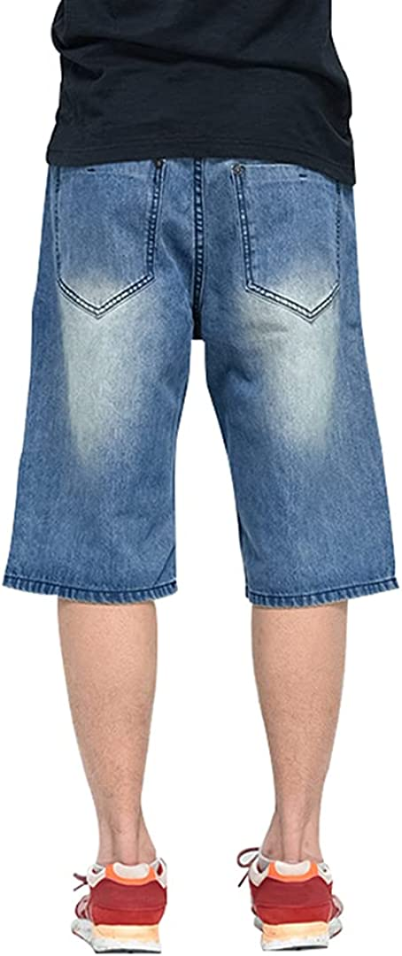 Rayiisuy Baggy Jeans Shorts for Men Hip Hop Casual Relaxed Fit Washed Skateboard Dance Denim Short Pants