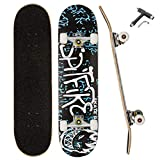 QLGM Skateboard 31 Inch Complete Standard Skateboard 7 Layer Maple Skateboard Deck with Sports Outdoors Durable Skate Board for Beginners Double Kick Skateboards for Adults (A1)