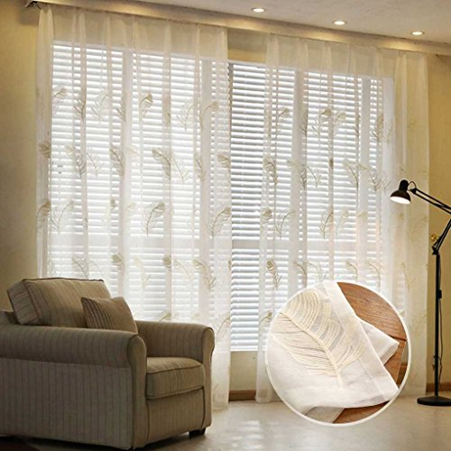 Sunlera Plumas bordadas Voile cortinas para la sala de estar del dormi