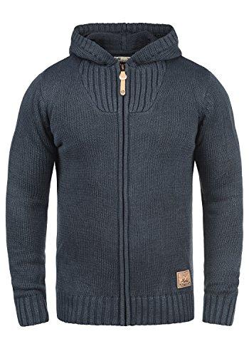!Solid Penda Herren Strickjacke Cardigan Grobstrick Winter Pullover mit Kapuze, Größe:M, Farbe:Insignia Blue Melange (8991)