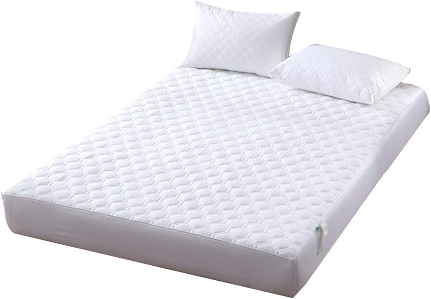 ZHAOHUI Mattress Predector Cotton Breathable Fiber Antibacterial Hygroscopic Quilted Non-Slip Soft Skin-Friendly, 5 colors, 3 Sizes (color   White, Size   150X200cm)