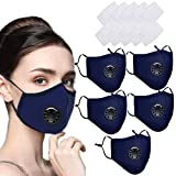 5 X Dust Face Mask With Filter,Reusable Face Masks Washable for Motorcycle Bicycle Running, Cycling, Outdoor Activities -With 10 Activated Carbon Filters