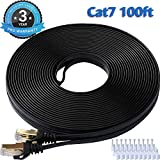 Best Ethernet Cable 100fts - CAT 7 Ethernet Cable 100 Ft Black Flat Review