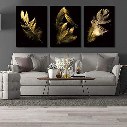 Nordische Leinwand Ölgemälde 3 Poster schwarzer Hintergrund Foto grau blau Gold rot Federn,Rahmenlose Malerei-50x67cmx3