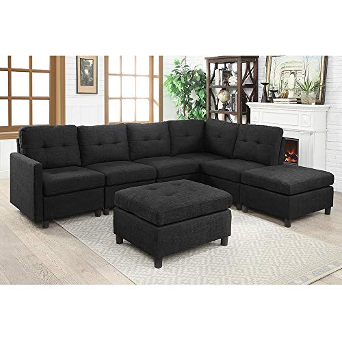 Living Room Sofa Sectional Chaise Lounge Couch 5-seat Sectional Reversible Sofa for Home, 83' W - Dark Gray